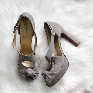 J. CREW 9.5 Love Me Knot Gray Suede Leather Heels